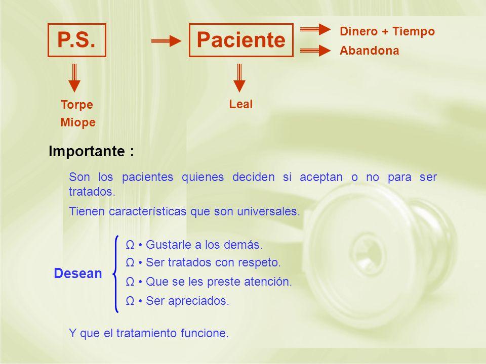 P.S. Paciente Importante : Desean Dinero + Tiempo Abandona Torpe Leal