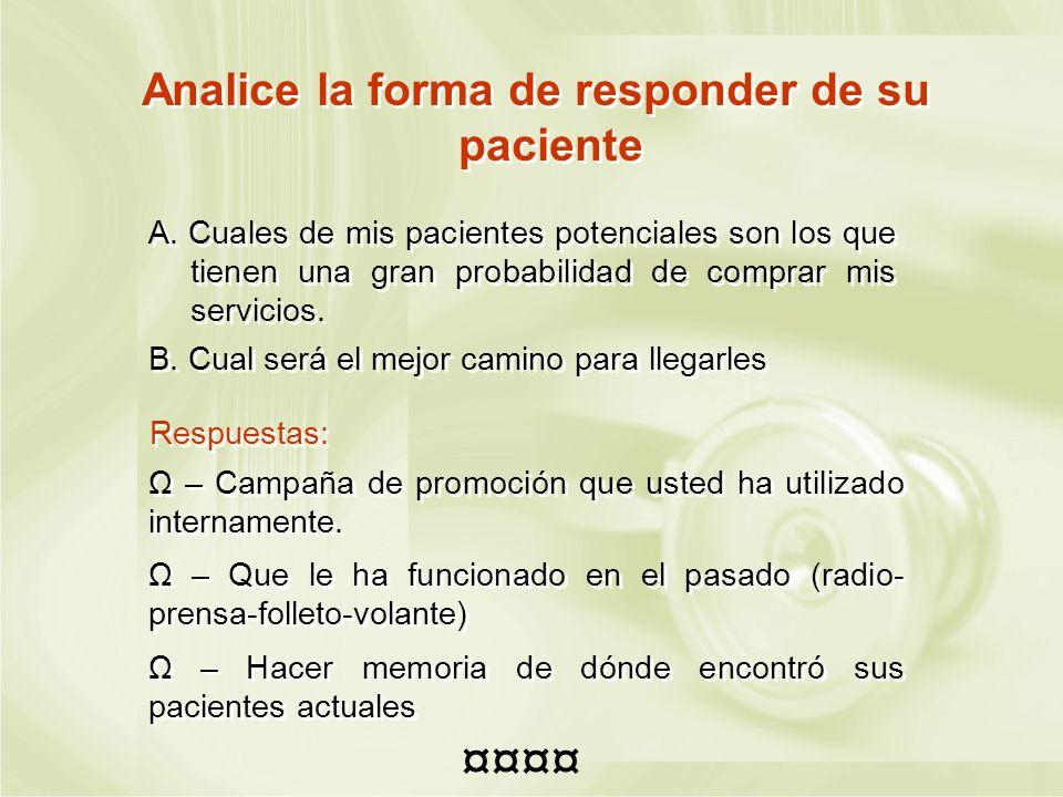 Analice la forma de responder de su paciente