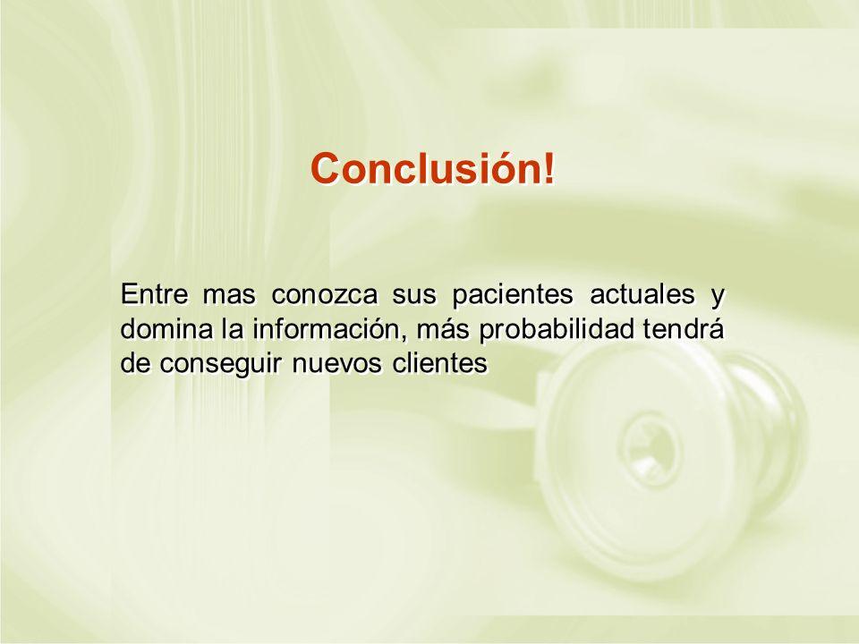 Conclusión!Entre mas conozca sus pacientes actuales y domina la información, más probabilidad tendrá de conseguir nuevos clientes.
