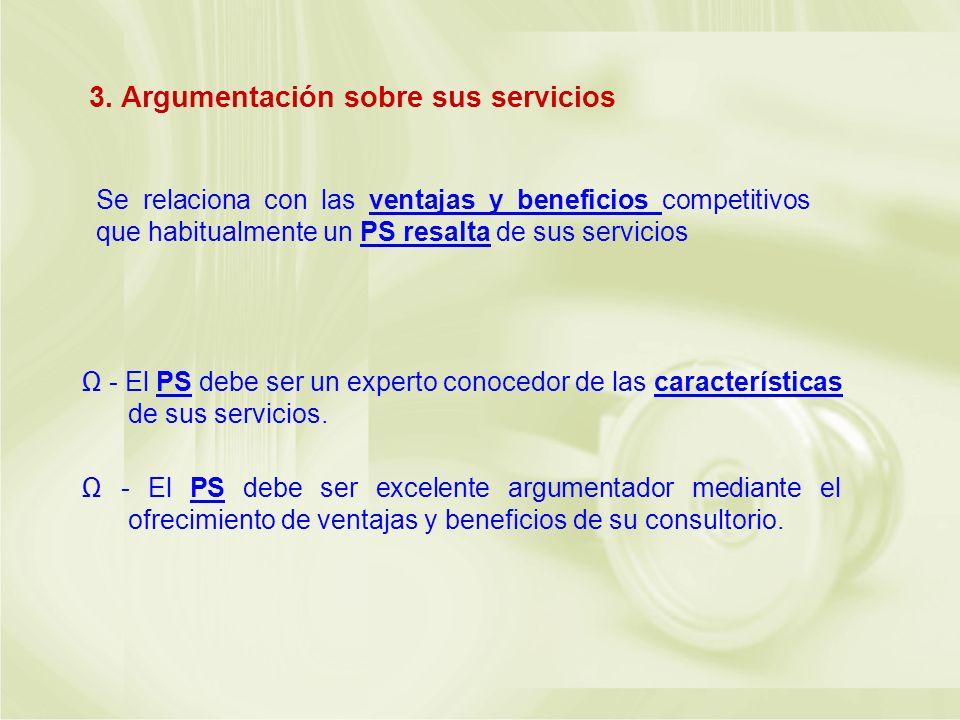 3. Argumentación sobre sus servicios