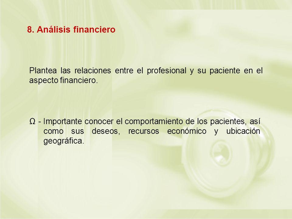 8. Análisis financiero Plantea las relaciones entre el profesional y su paciente en el aspecto financiero.