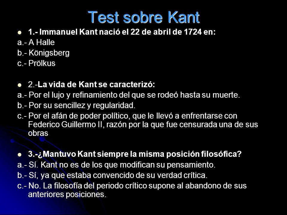 Test sobre Kant 1.- Immanuel Kant nació el 22 de abril de 1724 en: