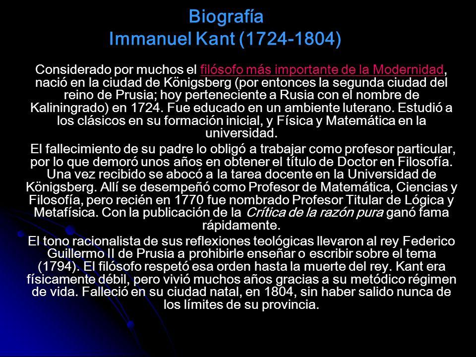 Biografía Immanuel Kant (1724-1804)