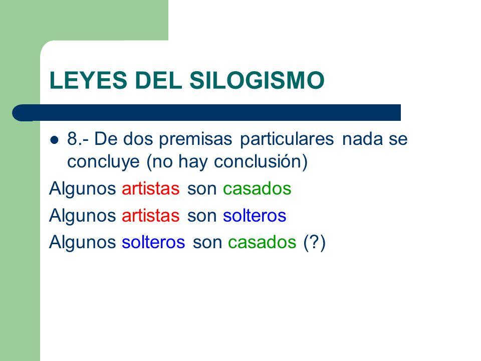 LEYES DEL SILOGISMO 8.- De dos premisas particulares nada se concluye (no hay conclusión) Algunos artistas son casados.
