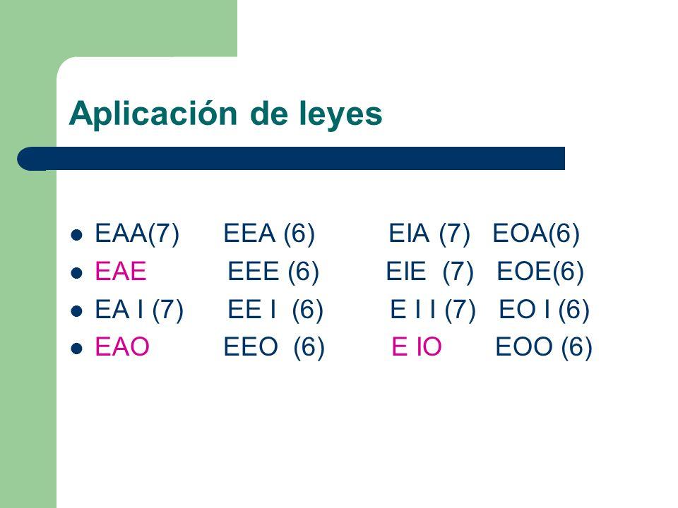 Aplicación de leyes EAA(7) EEA (6) EIA (7) EOA(6)