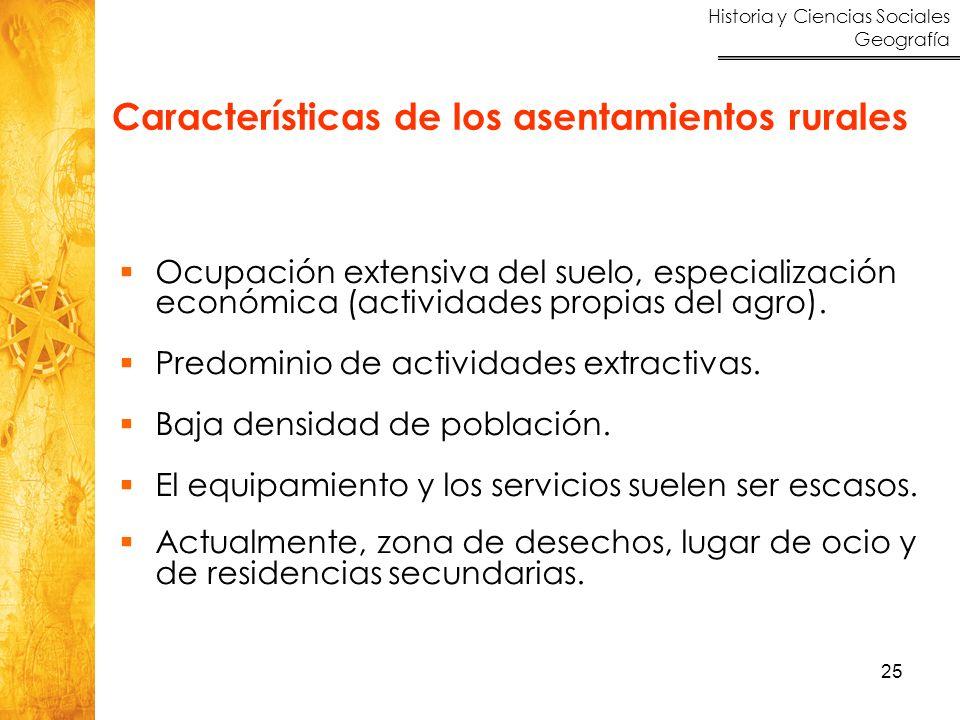 Características de los asentamientos rurales