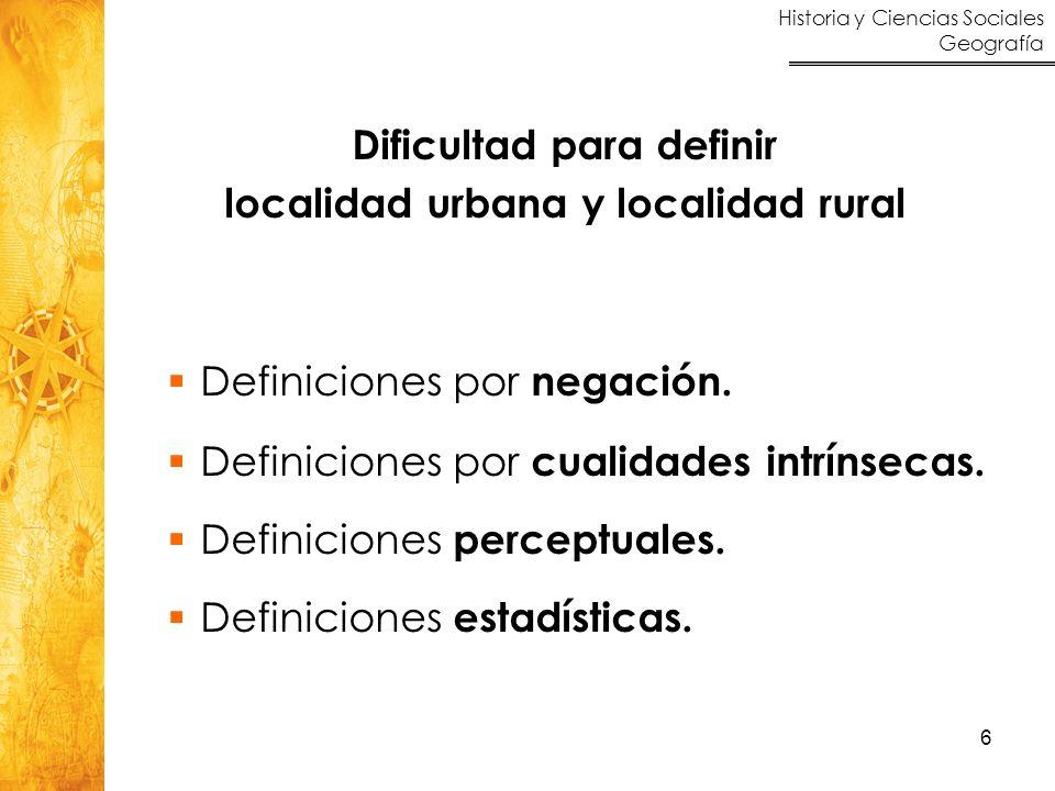 Dificultad para definir localidad urbana y localidad rural