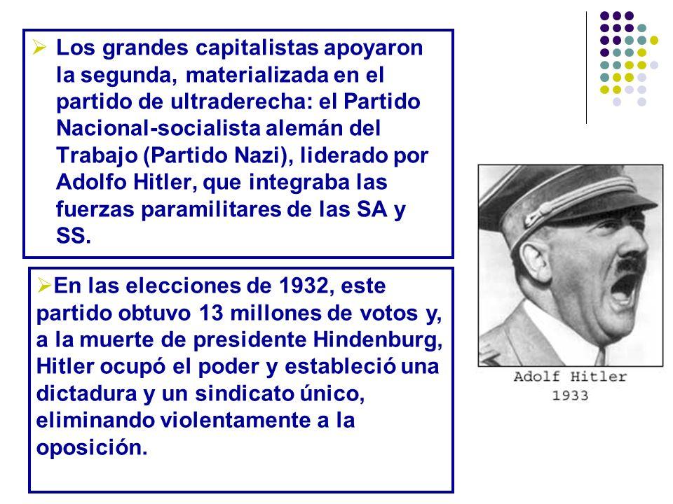 Los grandes capitalistas apoyaron la segunda, materializada en el partido de ultraderecha: el Partido Nacional-socialista alemán del Trabajo (Partido Nazi), liderado por Adolfo Hitler, que integraba las fuerzas paramilitares de las SA y SS.
