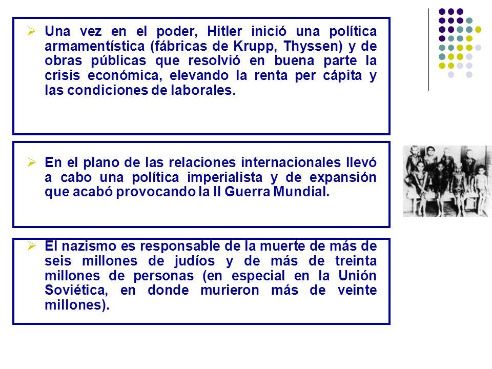 Una vez en el poder, Hitler inició una política armamentística (fábricas de Krupp, Thyssen) y de obras públicas que resolvió en buena parte la crisis económica, elevando la renta per cápita y las condiciones de laborales.