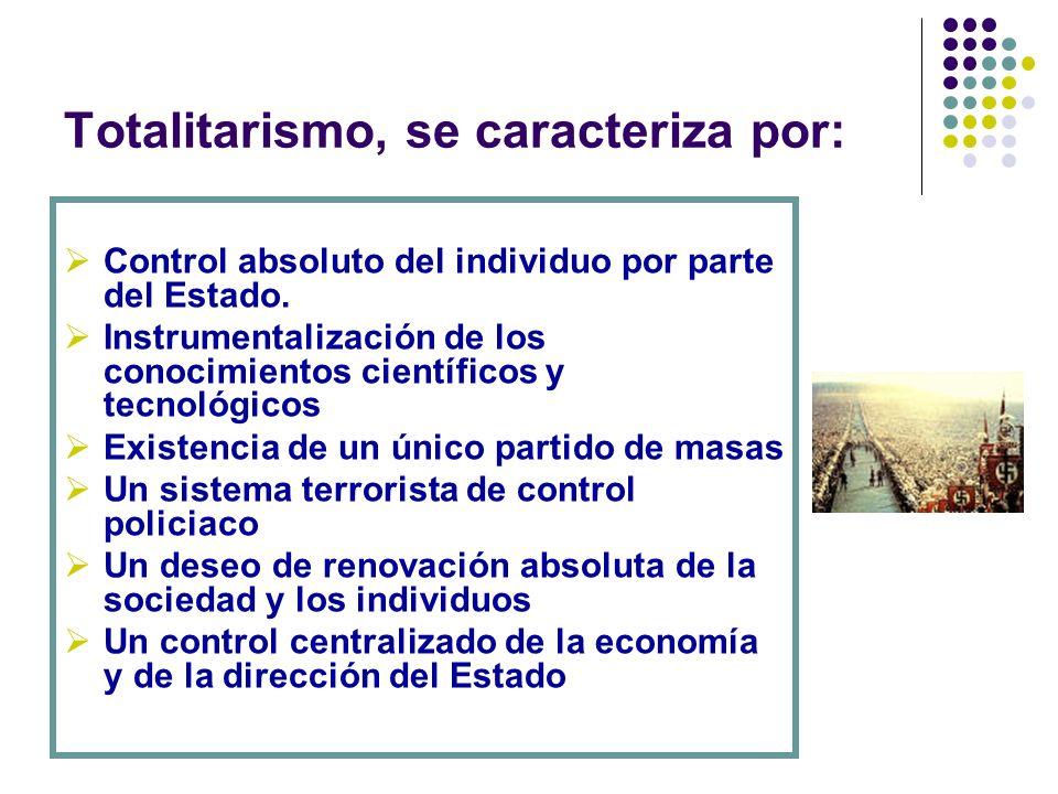 Totalitarismo, se caracteriza por: