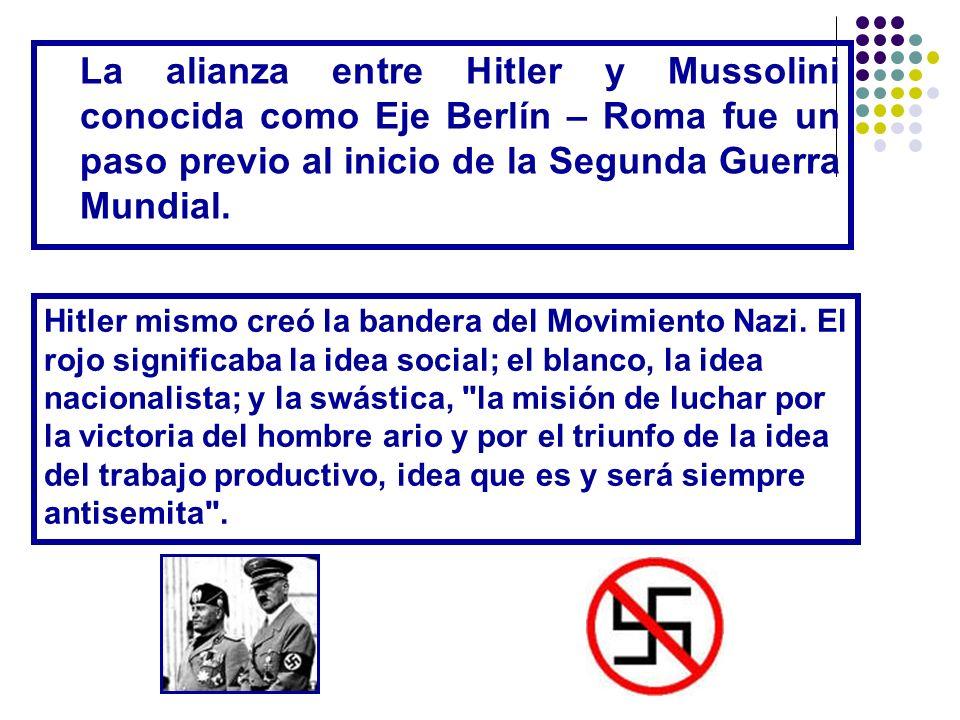 La alianza entre Hitler y Mussolini conocida como Eje Berlín – Roma fue un paso previo al inicio de la Segunda Guerra Mundial.