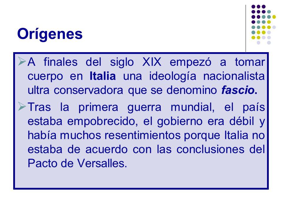 Orígenes A finales del siglo XIX empezó a tomar cuerpo en Italia una ideología nacionalista ultra conservadora que se denomino fascio.