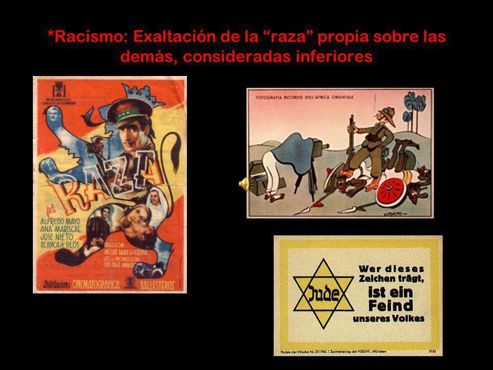 *Racismo: Exaltación de la raza propia sobre las demás, consideradas inferiores