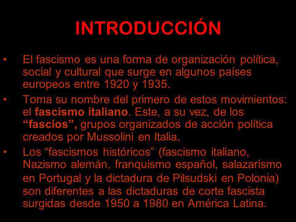 INTRODUCCIÓN El fascismo es una forma de organización política, social y cultural que surge en algunos países europeos entre 1920 y 1935.