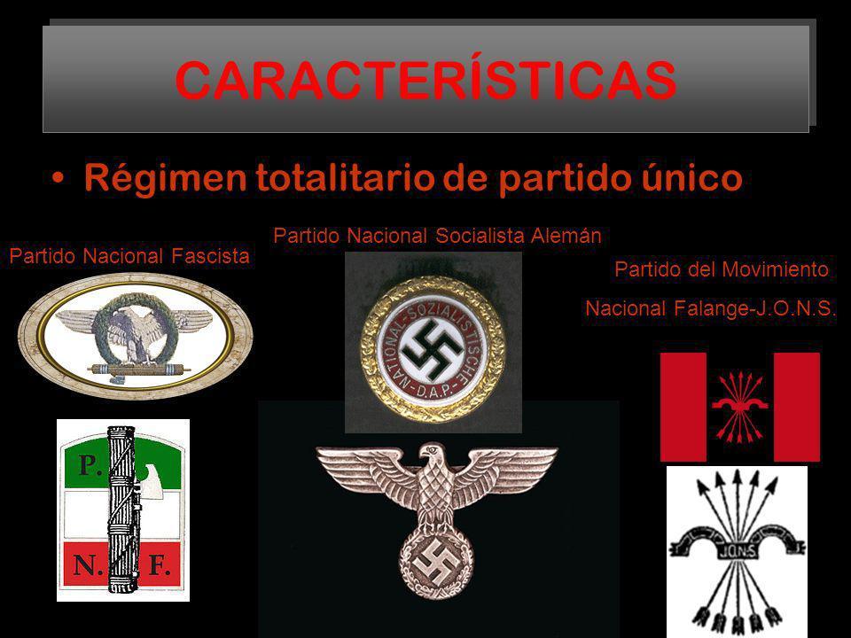 CARACTERÍSTICAS Régimen totalitario de partido único
