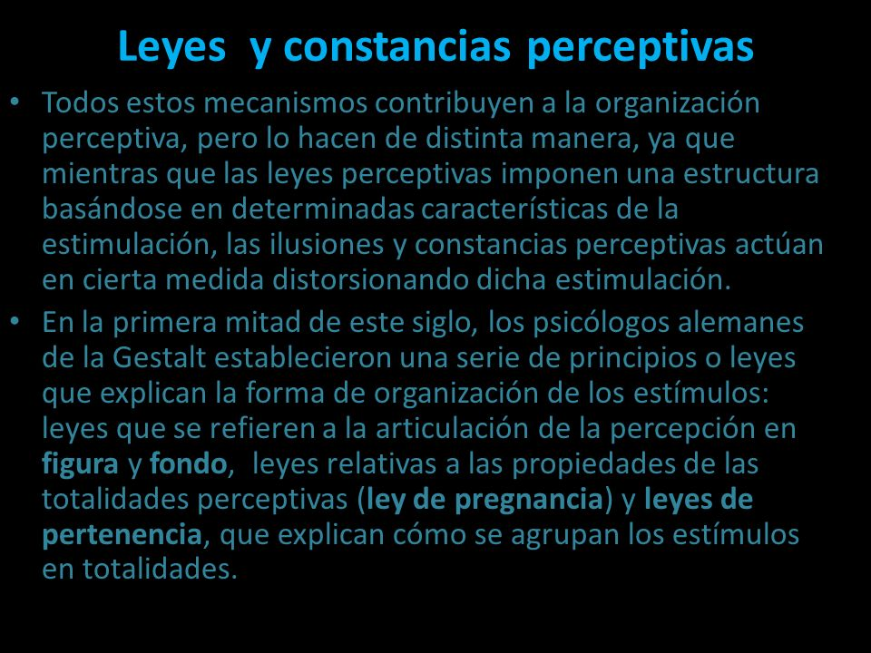 Leyes y constancias perceptivas