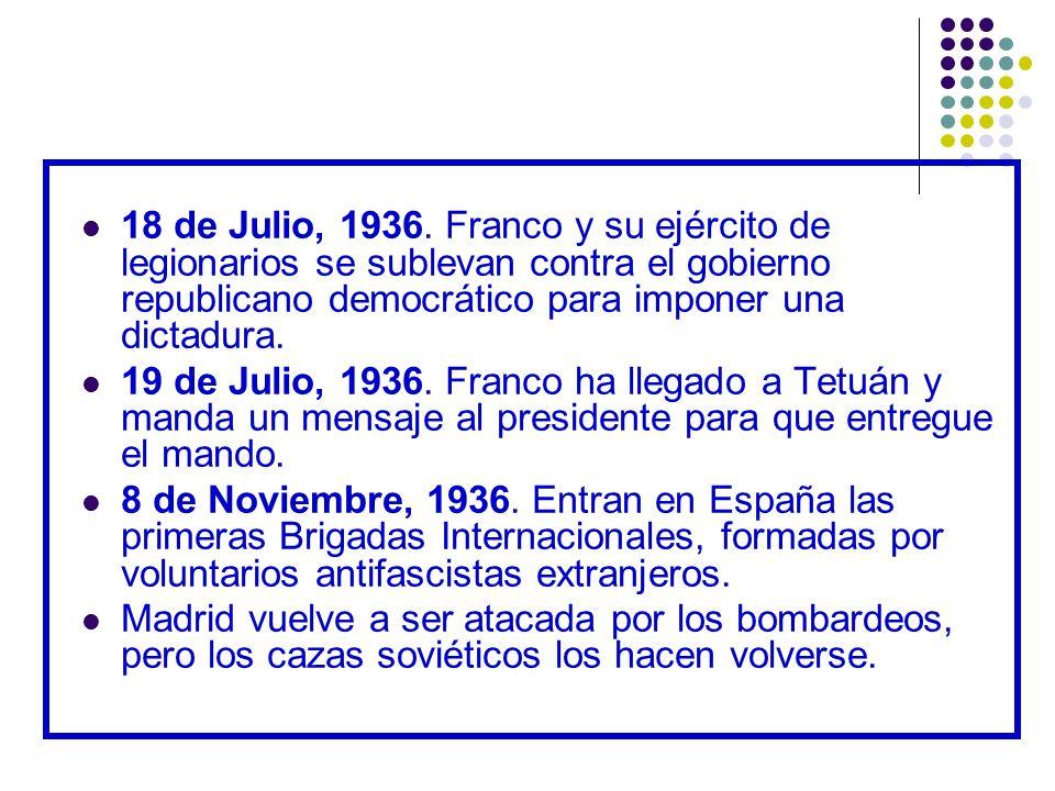 18 de Julio, 1936. Franco y su ejército de legionarios se sublevan contra el gobierno republicano democrático para imponer una dictadura.