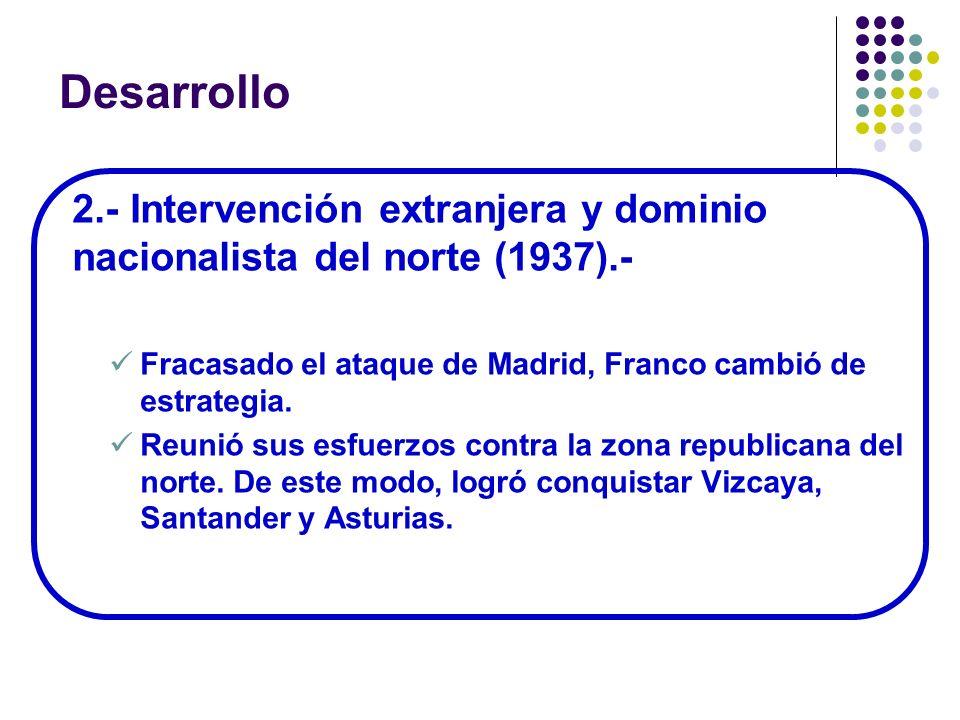 Desarrollo 2.- Intervención extranjera y dominio nacionalista del norte (1937).- Fracasado el ataque de Madrid, Franco cambió de estrategia.