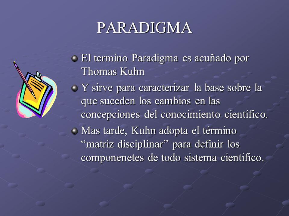 PARADIGMA El termino Paradigma es acuñado por Thomas Kuhn