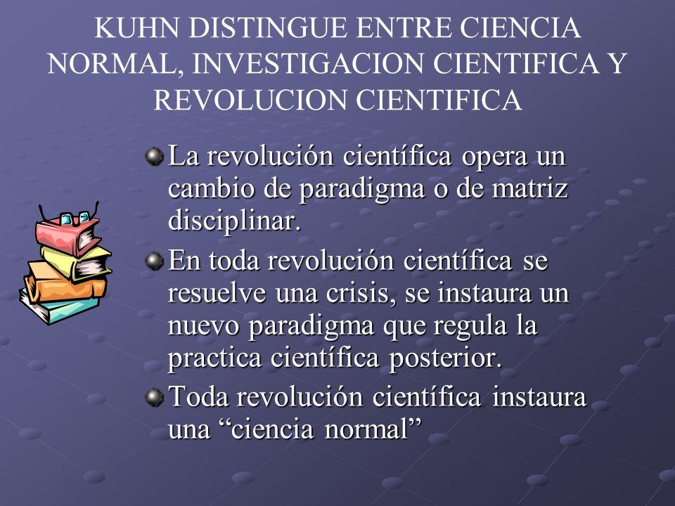 KUHN DISTINGUE ENTRE CIENCIA NORMAL, INVESTIGACION CIENTIFICA Y REVOLUCION CIENTIFICA