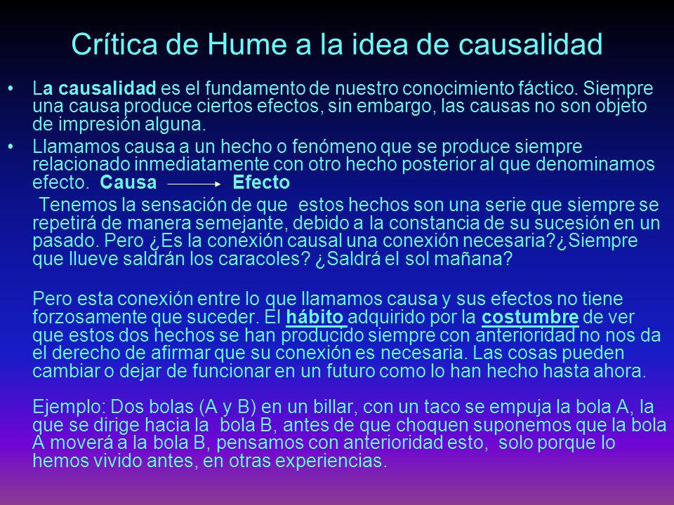 Crítica de Hume a la idea de causalidad