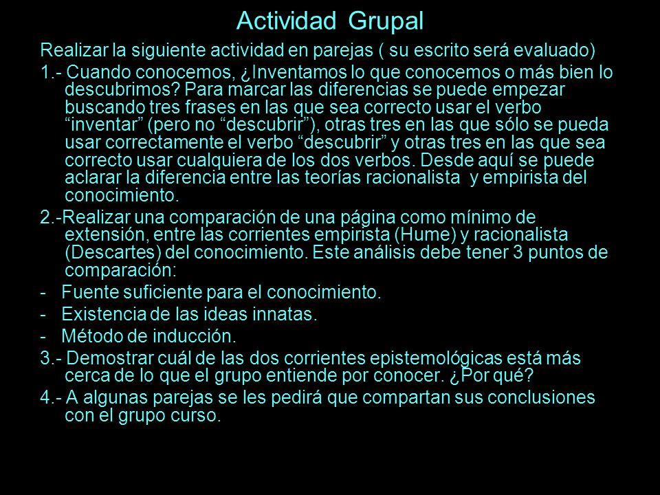 Actividad Grupal Realizar la siguiente actividad en parejas ( su escrito será evaluado)