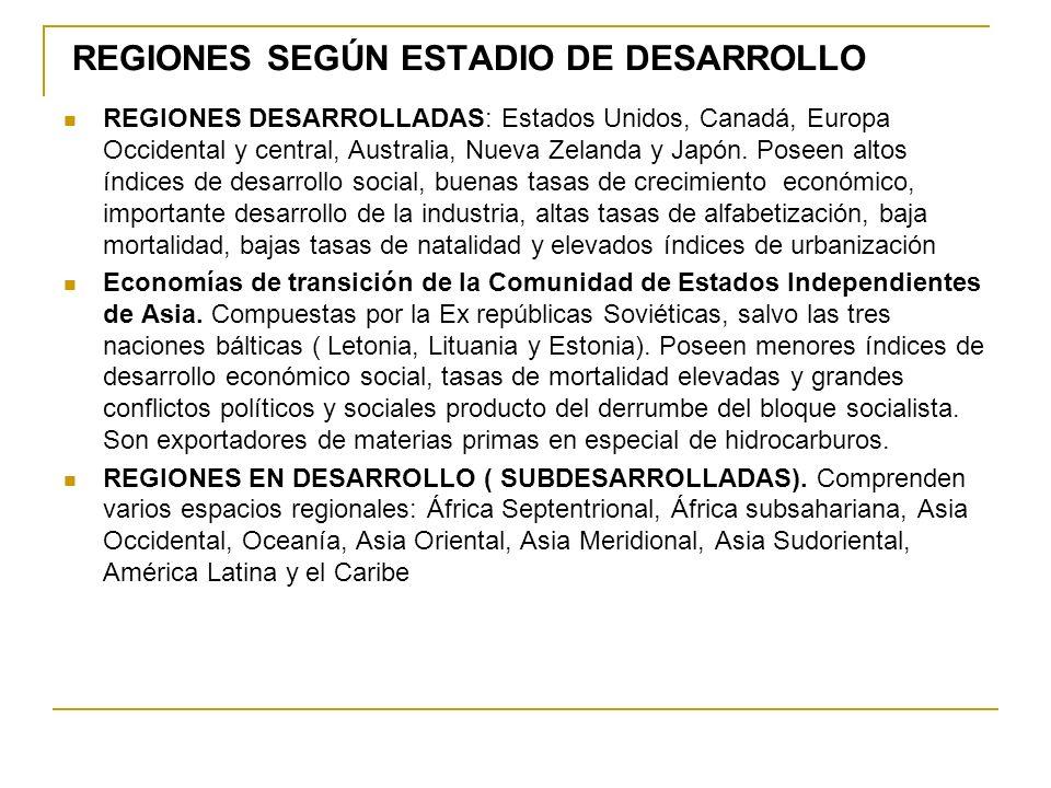 REGIONES SEGÚN ESTADIO DE DESARROLLO