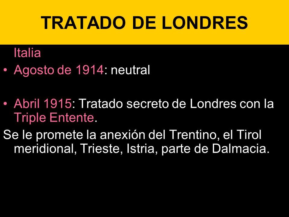 TRATADO DE LONDRES Italia Agosto de 1914: neutral