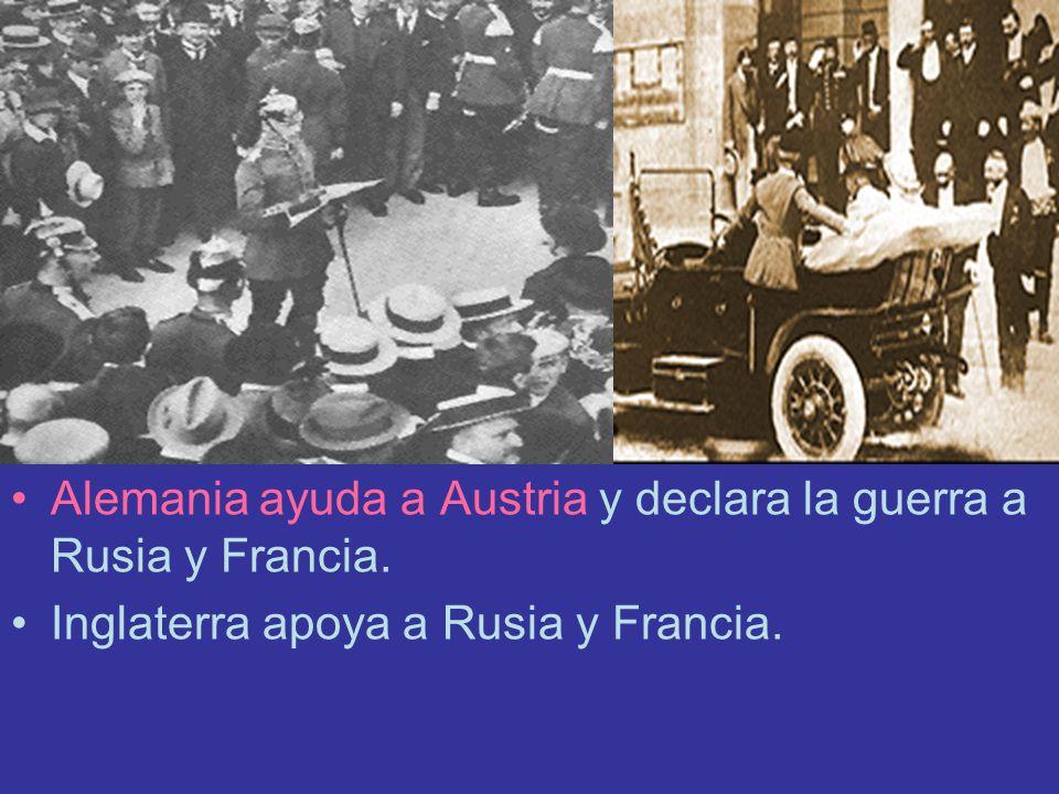 Alemania ayuda a Austria y declara la guerra a Rusia y Francia.