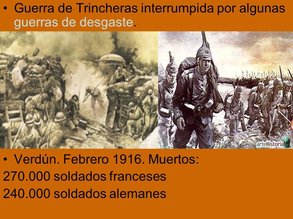 Guerra de Trincheras interrumpida por algunas guerras de desgaste.