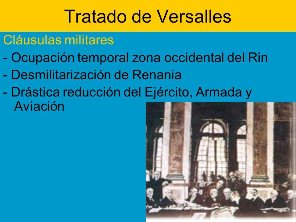 Tratado de Versalles Cláusulas militares