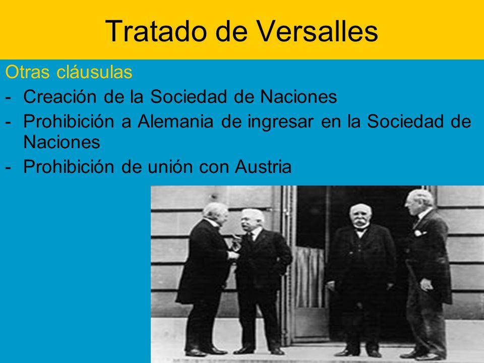Tratado de Versalles Otras cláusulas