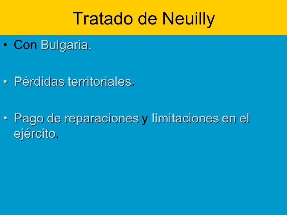 Tratado de Neuilly Con Bulgaria. Pérdidas territoriales.