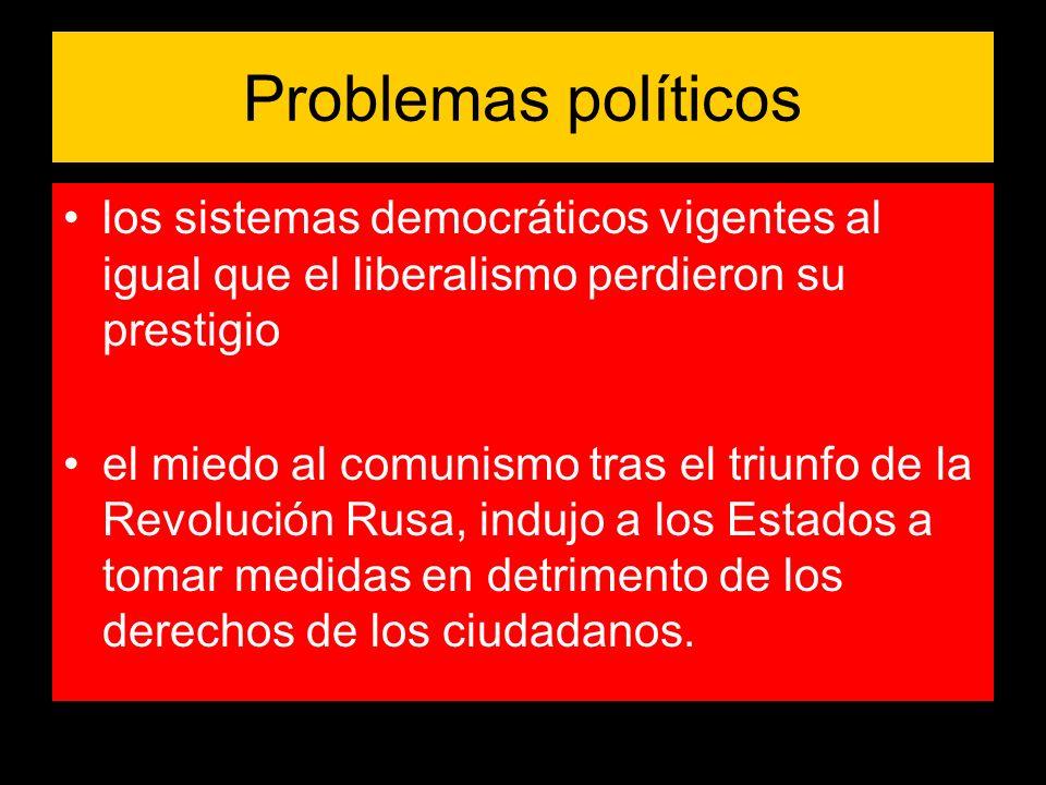 Problemas políticos los sistemas democráticos vigentes al igual que el liberalismo perdieron su prestigio.