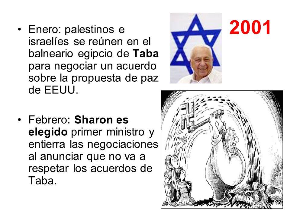 2001Enero: palestinos e israelíes se reúnen en el balneario egipcio de Taba para negociar un acuerdo sobre la propuesta de paz de EEUU.