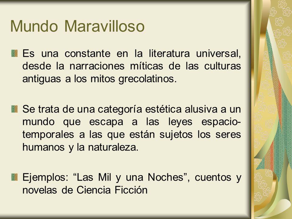 Mundo MaravillosoEs una constante en la literatura universal, desde la narraciones míticas de las culturas antiguas a los mitos grecolatinos.
