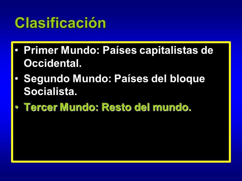 Clasificación Primer Mundo: Países capitalistas de Occidental.