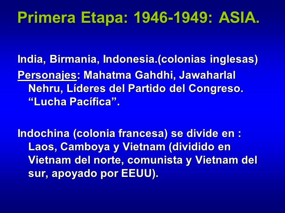Primera Etapa: 1946-1949: ASIA.India, Birmania, Indonesia.(colonias inglesas)