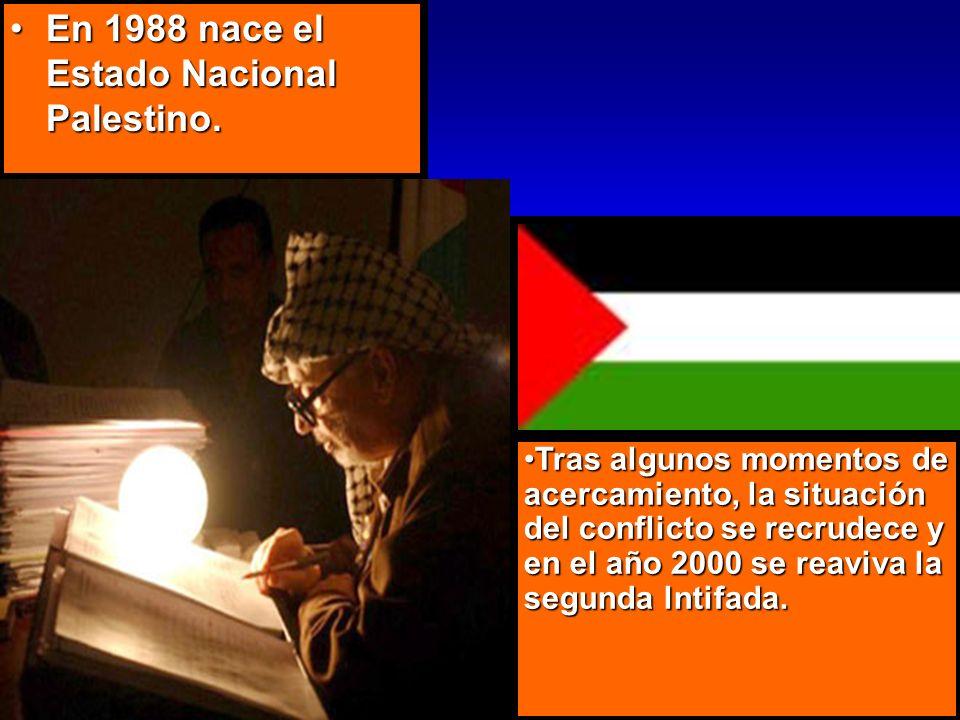 En 1988 nace el Estado Nacional Palestino.
