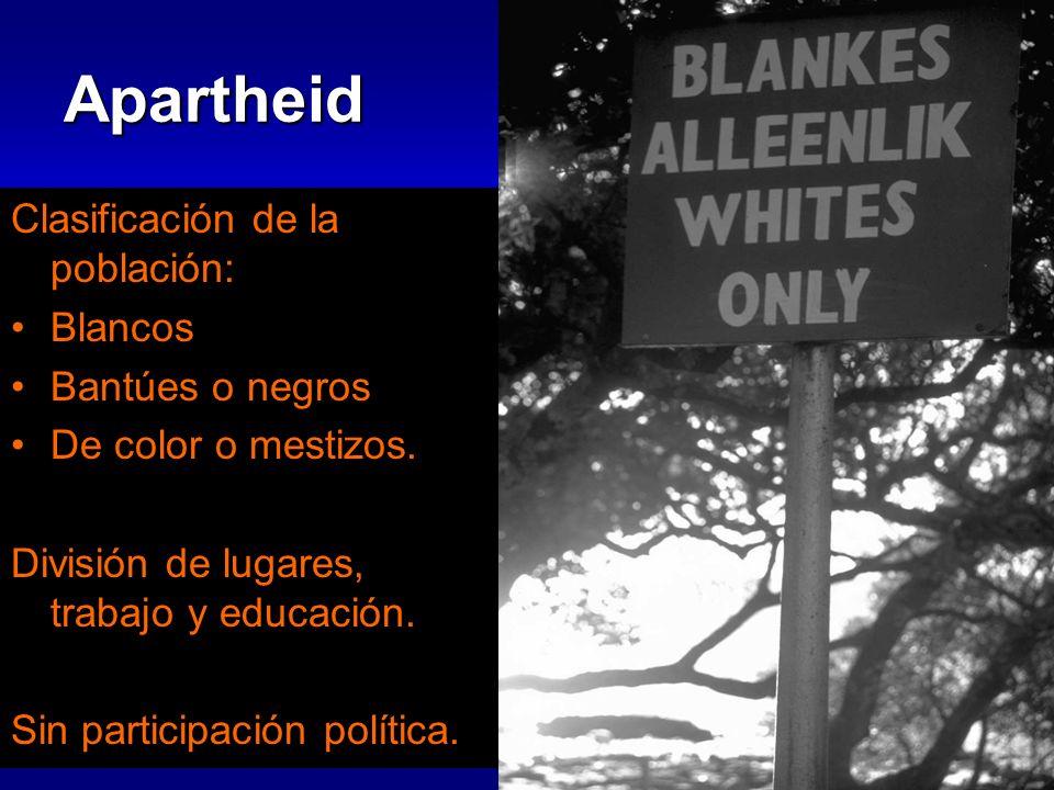 Apartheid Clasificación de la población: Blancos Bantúes o negros