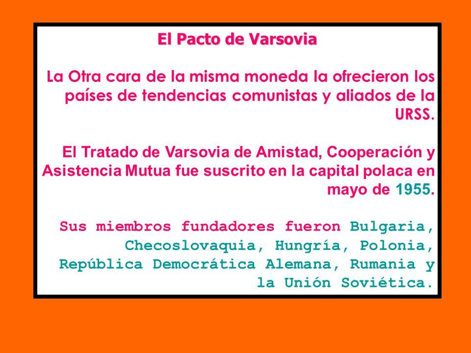 El Pacto de VarsoviaLa Otra cara de la misma moneda la ofrecieron los países de tendencias comunistas y aliados de la URSS.