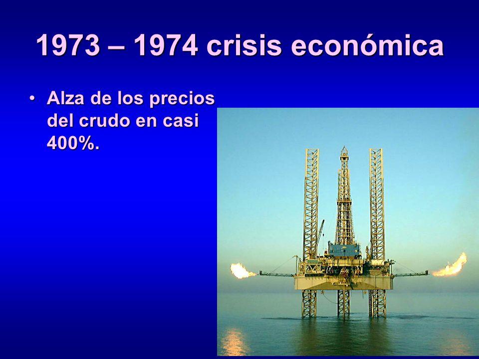 1973 – 1974 crisis económica Alza de los precios del crudo en casi 400%.