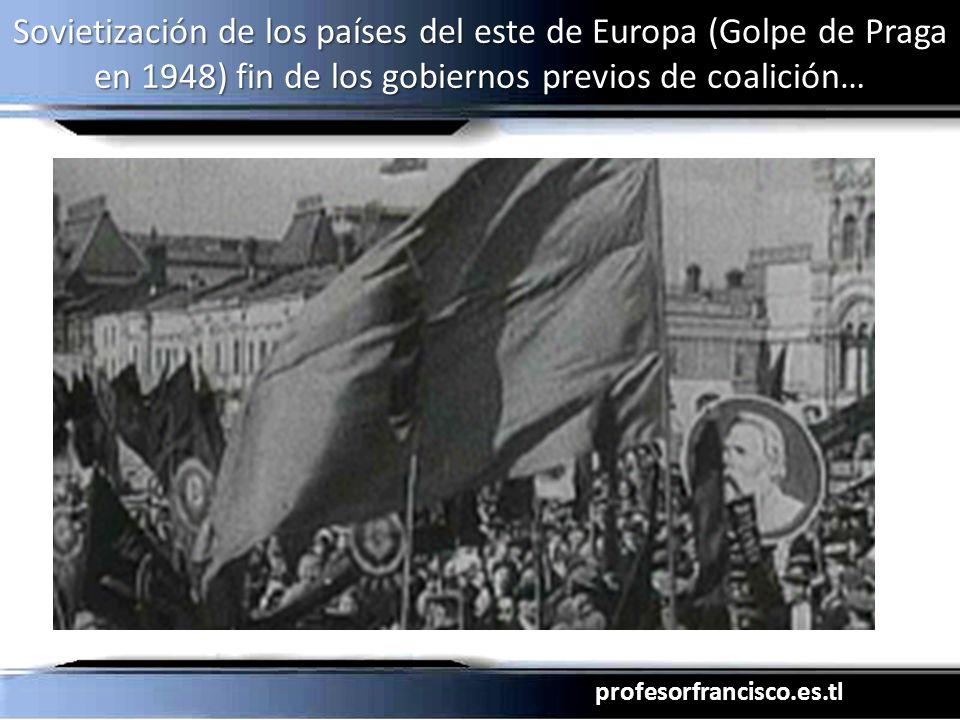Sovietización de los países del este de Europa (Golpe de Praga en 1948) fin de los gobiernos previos de coalición…