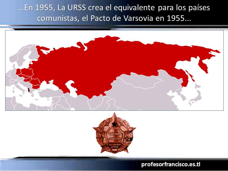 …En 1955, La URSS crea el equivalente para los países comunistas, el Pacto de Varsovia en 1955...