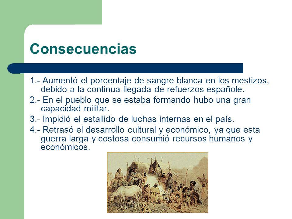 Consecuencias 1.- Aumentó el porcentaje de sangre blanca en los mestizos, debido a la continua llegada de refuerzos españole.