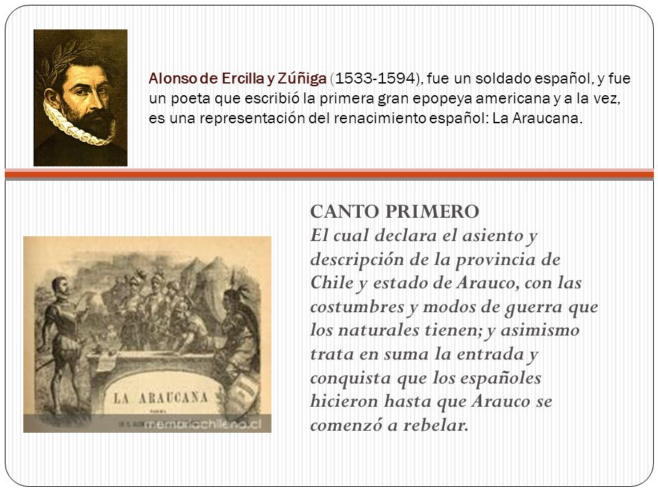 Alonso de Ercilla y Zúñiga (1533-1594), fue un soldado español, y fue un poeta que escribió la primera gran epopeya americana y a la vez, es una representación del renacimiento español: La Araucana.