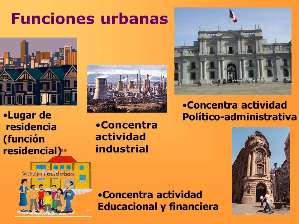 Funciones urbanas Concentra actividad Político-administrativa Lugar de