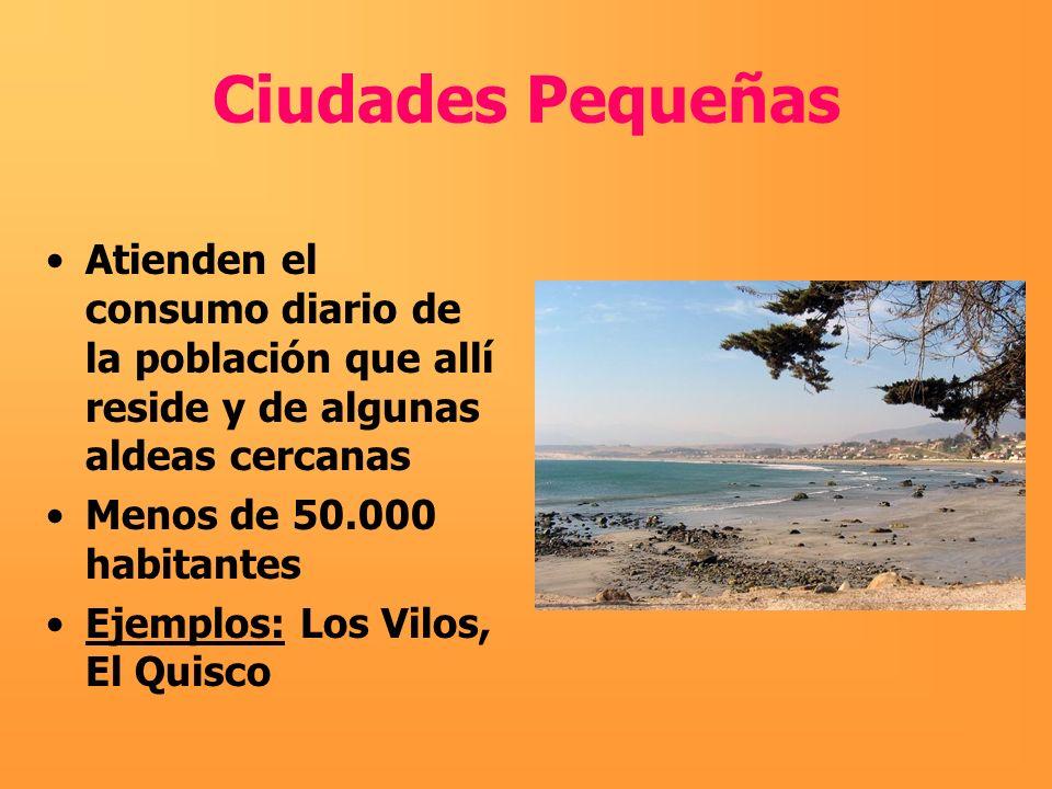 Ciudades PequeñasAtienden el consumo diario de la población que allí reside y de algunas aldeas cercanas.