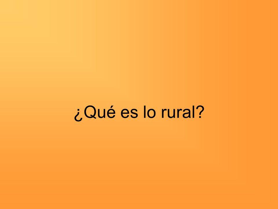 ¿Qué es lo rural