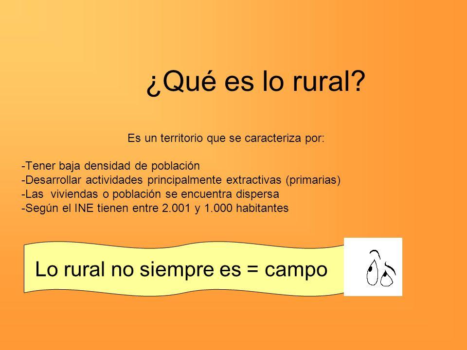 ¿Qué es lo rural Lo rural no siempre es = campo